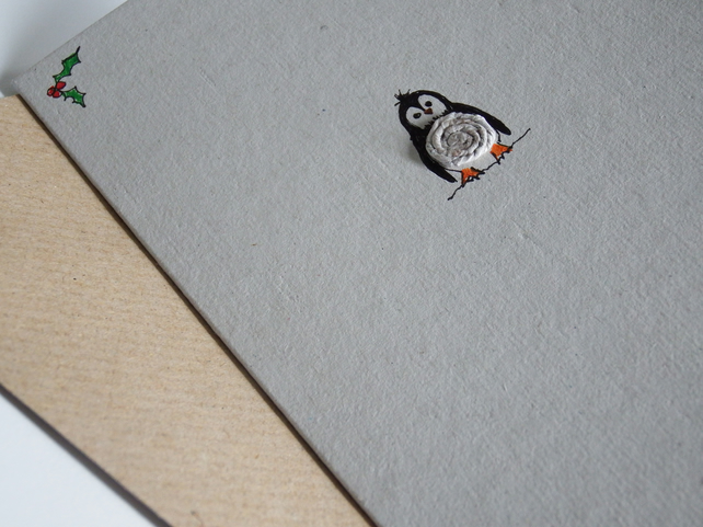 Penguin - recycled newspaper yarn christmas card