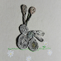 Newspaper bunnies and daisies (blank inside) mother's day card - recycled