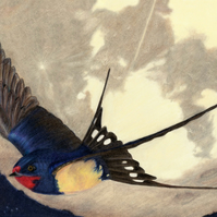 A4 Print - moonlit swallow - matte archival paper - Mindfulness Art