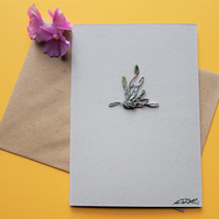 Moss & buds - handmade newspaper yarn get well card