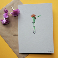 Get well card - flower posy - recycled card and newspaper