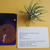 Pangolin Connection on Recycled Cotton - Get Well Card Keepsake - Token