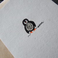 Christmas Card - Tiny Penguin - Recycled - Eco - Newspaper yarn