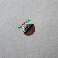 Pack of Five Christmas Cards - Tiny Puddings - Recycled - Eco - Newspaper yarn