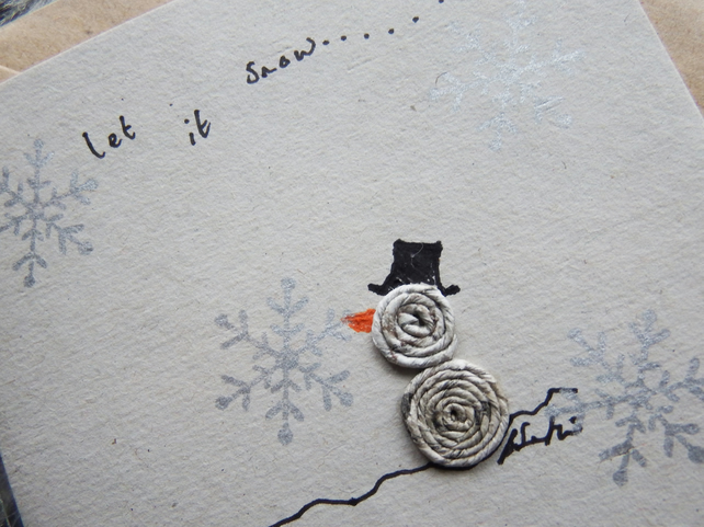 Christmas Card - snowman - Recycled - Eco - Newspaper yarn