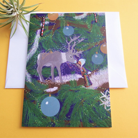 Christmas Card - Reindeer and child connection - Christmas tree