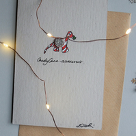 5 pack Christmas Cards - Candy Cane Dinosaur - Recycled - Eco - Newspaper yarn