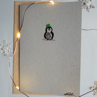 Christmas Card - Tiny Penguin with wooly hat - Recycled - Eco - Newspaper yarn