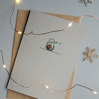Robin with mistletoe - Recycled - Eco - Newspaper yarn Christmas Card