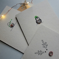 5 pack of Christmas Cards - Lucky Dip - Recycled - Eco - Newspaper yarn