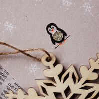 5 pack Christmas Cards - Tiny Penguin - Recycled - Eco - Newspaper yarn