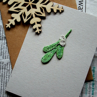 Mistletoe, kiss, love Christmas Card - Recycled - Eco - Newspaper yarn