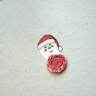 Father Christmas Santa Card - Recycled - Eco - Newspaper yarn