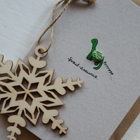 Sprout eating dinosaur Christmas Card - Recycled - Eco - Newspaper yarn