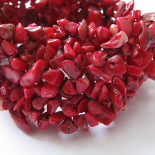 Chipped Red Coral Stretch Bangle / Bracelet