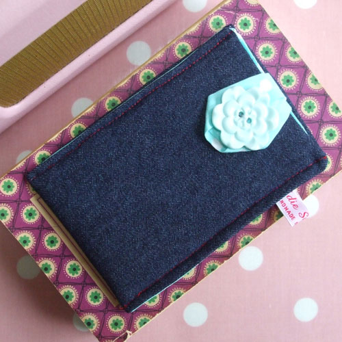 Blue flower button and denim iPod or iPhone case