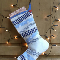 Blue Striped Christmas Stocking