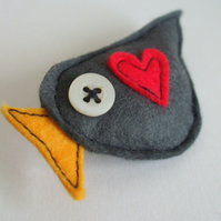 Little Grey Birdy Brooch