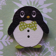 Cute Christmas Wooden Button Brooch Penguins 6 different designs Xmas