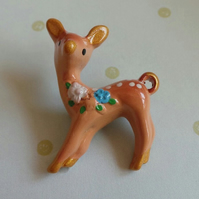 Kitsch Bambi Deer Resin brooch with 3D floral flower decoration