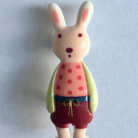 Resin Bunny Rabbit dressed brooches pastel colours 5 designs