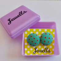 Fabric earrings - polka dot design - lots of colours available - gift boxed