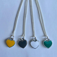Pretty Enamel Heart fine necklace silver plated yellow grey turquoise white