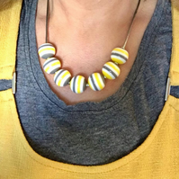 Grey Yellow Bright Bead necklaces stripes stripey stripes summer