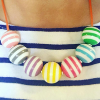 Bright colourful stripey stripe striped bead necklace summer pastel