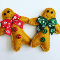 Christmas Xmas Felt Gingerbread Man handmade brooch