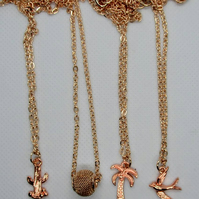 Rose gold plated charm necklaces - palm tree, cactus, mesh bead, bird