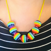 Rainbow Stripe Stripey Large Bead Necklace