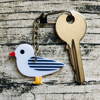 Acrylic Seagull Keyring - 8 colours and designs