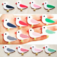 Acrylic Seagull brooches - 8 different colours and designs