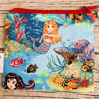 Small Mermaid Fabric Handmade Coin Purse