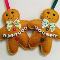 Personalised Gingerbread Man Felt Handmade Name Decoration Christmas Xmas