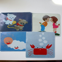 Set of 4 upcycled postcards - knitting theme