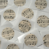 Set of 20 upcycled stickers - sheet music