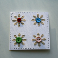 Set of 5 upcycled notecards - wordy flowers