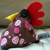 Cheeky Chicken pincushion or paperweight - strawberry