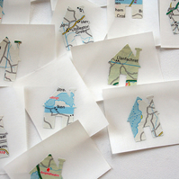 House shaped map stickers - set of 20 upcycled stickers