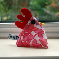 Pink cheeky chicken paperweight or pincushion