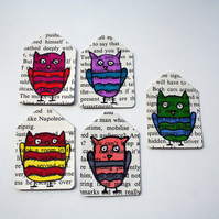 Set of 6 owl gift tags - recycled