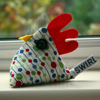 Red, blue and green spotty chicken pincushion or paperweight called Henry