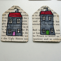 Set of 6 upcycled gift tags - hand drawn houses