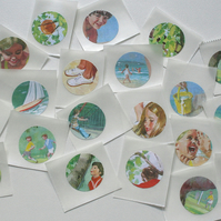 Set of 20 upcycled stickers - Peter and Jane go to the park and beach