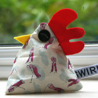 Limited Edition Liberty fabric chicken paperweight