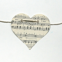 I heart music upcycled paper bunting - heart shaped