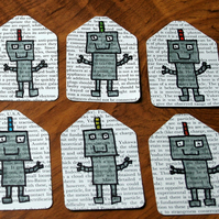 Set of 6 cute robot gift tags - recycled