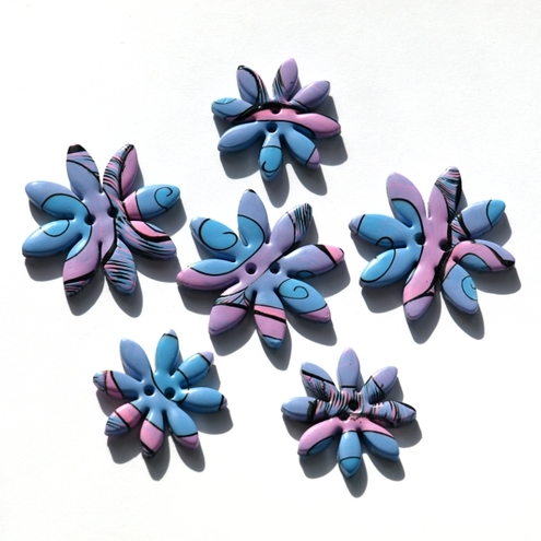 Dizzy Daisies, polymer clay buttons